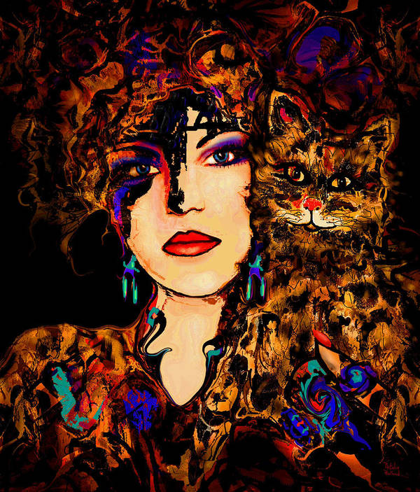 Woman With Cat Art Print featuring the mixed media Happy Together by Natalie Holland