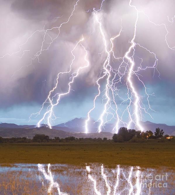 Lightning Art Print featuring the photograph Lightning Striking Longs Peak Foothills 4C by James BO Insogna