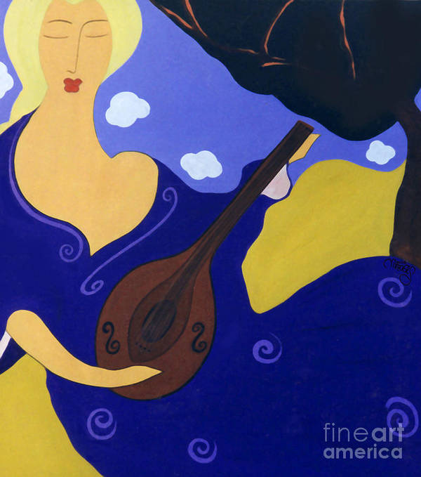 #mandolin Art Print featuring the painting Magdelinas Song by Jacquelinemari