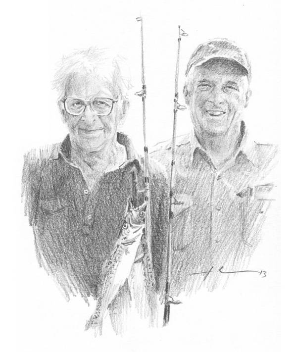 <a Href=http://miketheuer.com Target =_blank>www.miketheuer.com</a> Me And Dad Fishing Pencil Portrait Art Print featuring the drawing Me And Dad Fishing Pencil Portrait by Mike Theuer
