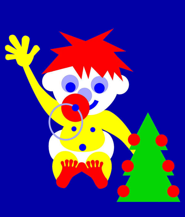 Merry Christmas To You From The Hi World Baby Art Print featuring the digital art Merry Christmas to you from the HI WORLD Baby by Asbjorn Lonvig