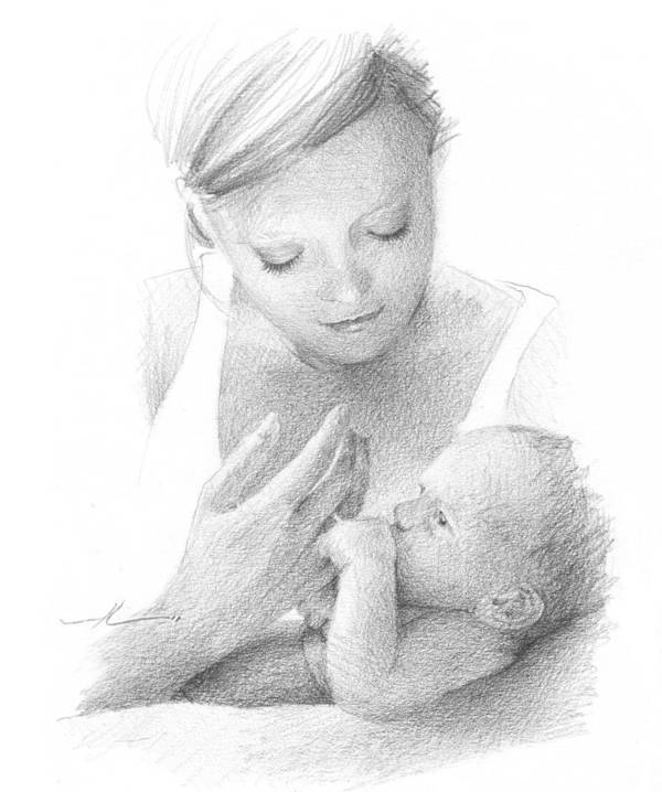 Www.miketheuer.com Mom And Baby Pencil Portrait Art Print featuring the drawing Mom And Baby Pencil Portrait by Mike Theuer
