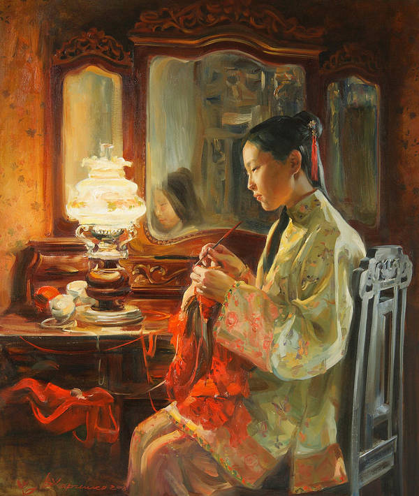 China Art Print featuring the painting Quiet evening by Victoria Kharchenko