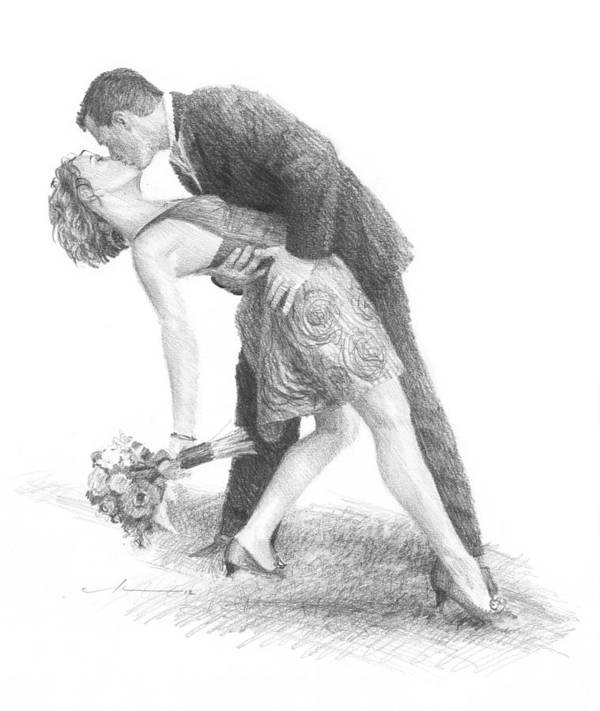 <a Href=http://miketheuer.com Target =_blank>www.miketheuer.com</a> Art Print featuring the drawing Romantic Kiss Newlyweds Pencil Portrait by Mike Theuer