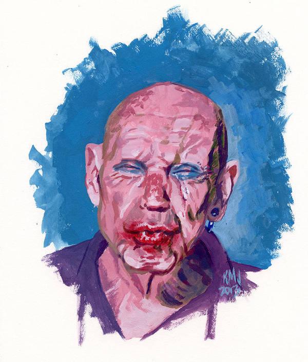 Men Art Print featuring the painting Sad Clown by Ken Meyer jr