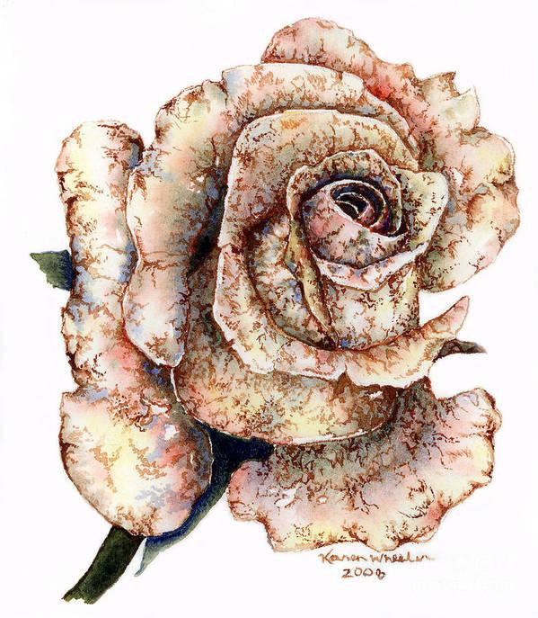 Rose Art Print featuring the painting Velvet Rust by Karen Wheeler