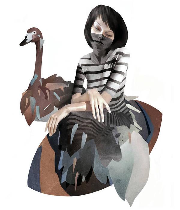 Girl Art Print featuring the mixed media November by Ruben Ireland
