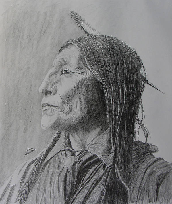 Indian Art Print featuring the drawing Chief Wolf Robe by Stan Hamilton