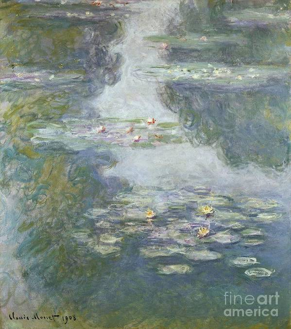 Pads Art Print featuring the painting Waterlilies by Claude Monet