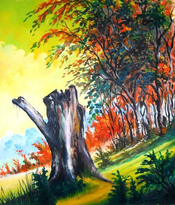 Landscape Art Print featuring the painting Verde Que Te Quero Verde by Leomariano artist BRASIL