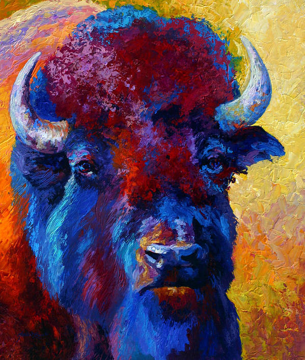Wildlife Art Print featuring the painting Bison Boss by Marion Rose