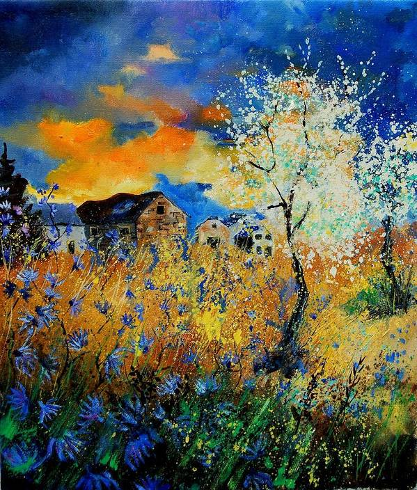 Poppies Art Print featuring the painting Blooming trees by Pol Ledent