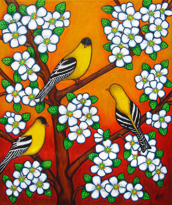 Goldfinch Art Print featuring the painting Chardonnay Sunset by Lisa Lorenz