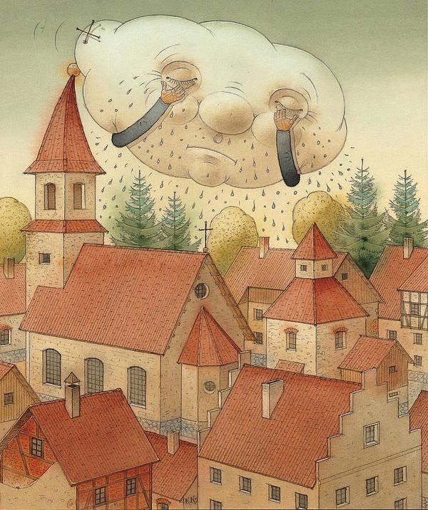 Cloud Town City Rain Roof Art Print featuring the painting Cloud by Kestutis Kasparavicius