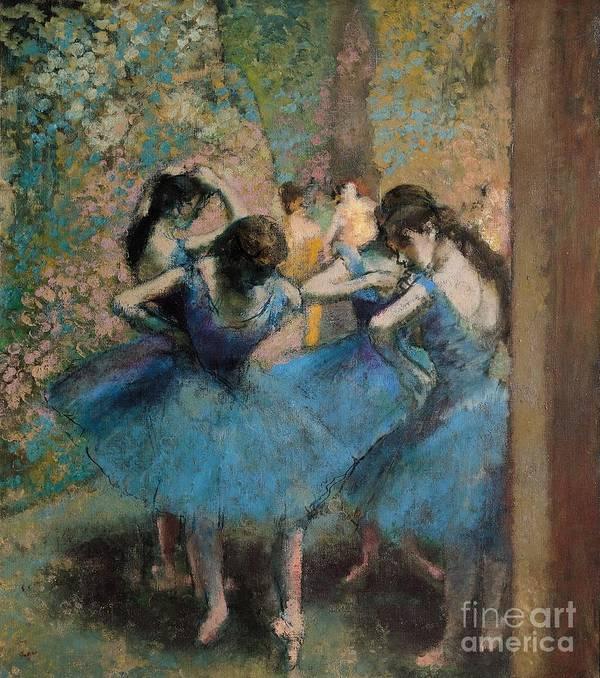 Edgar Art Print featuring the painting Dancers in blue by Edgar Degas