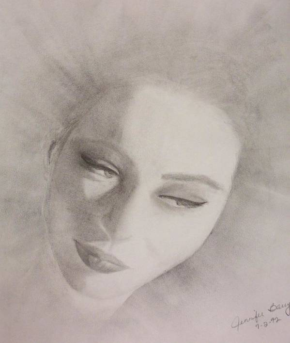 Portrait Art Print featuring the drawing Face by Jennifer Hernandez