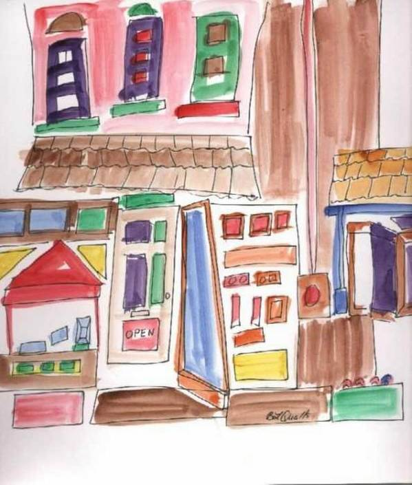 City Art Print featuring the painting Festival in the City 3 by B L Qualls
