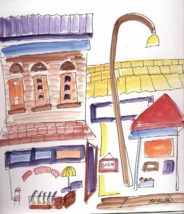 Watercolor Art Print featuring the painting Festival in the City 4 by B L Qualls
