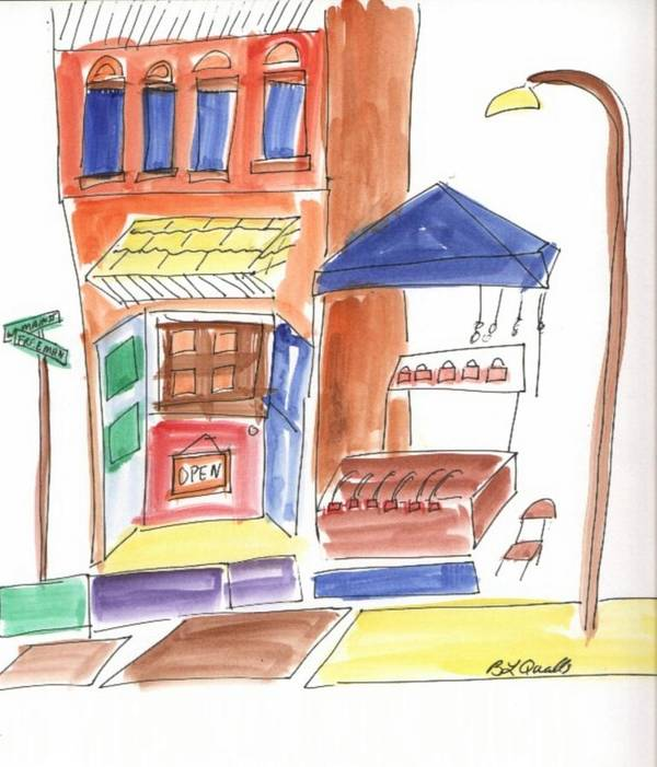 Festival Art Print featuring the painting Festival in the City 6 by B L Qualls