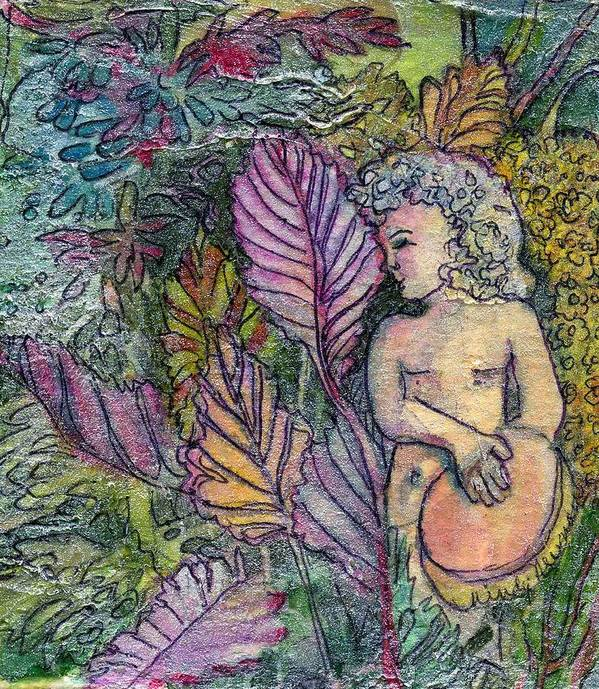 Child Art Print featuring the painting Garden Muse by Mindy Newman