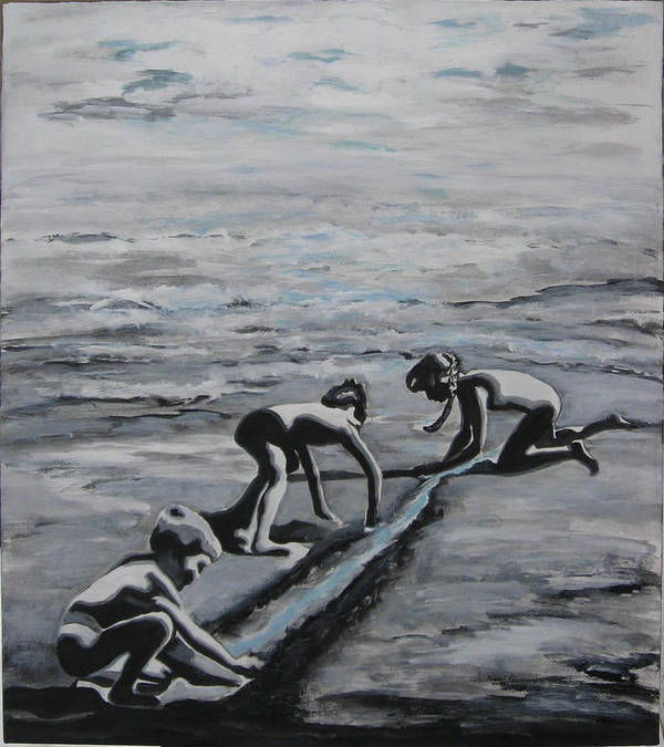 Children Playing On The Beach Art Print featuring the painting Harnessing the Ocean by Naomi Gerrard