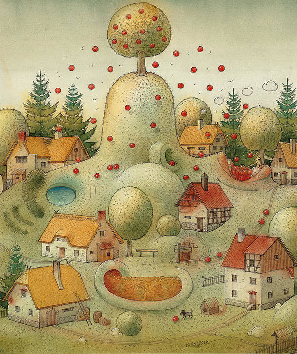Hill Landscape House Home Apple Giant Autumn Art Print featuring the painting Hill by Kestutis Kasparavicius