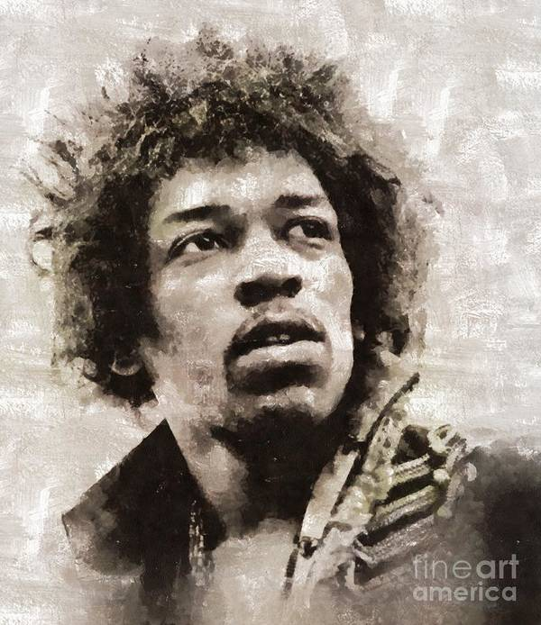 Hollywood Art Print featuring the painting Jimi Hendrix by Mary Bassett by Esoterica Art Agency