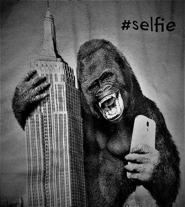 Architecture Art Print featuring the photograph King Kong Selfie B W by Rob Hans