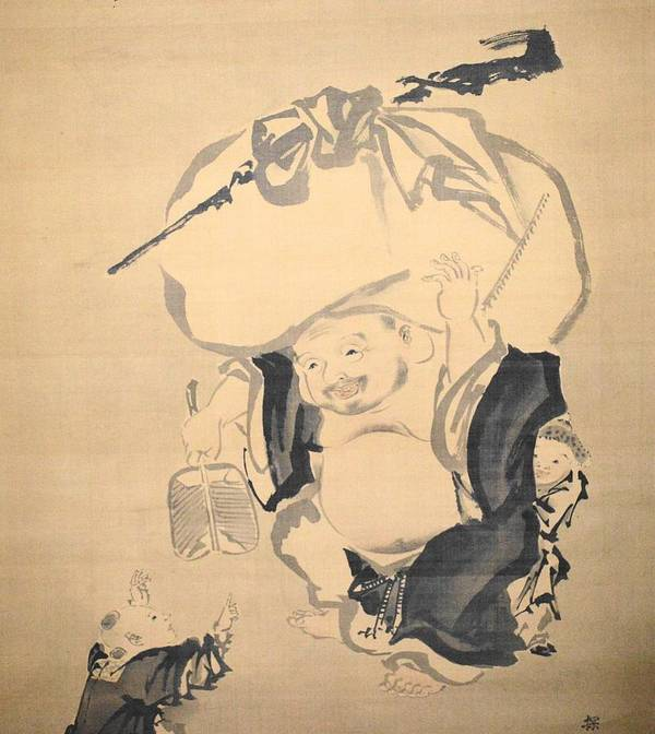 Love Art Print featuring the drawing Lucky Gods HOTEI by Keisuke Ueda