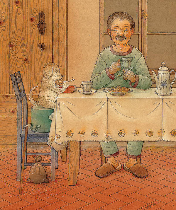 Animals Dog Figure Evening Tea Art Print featuring the painting Mysterious Guest by Kestutis Kasparavicius