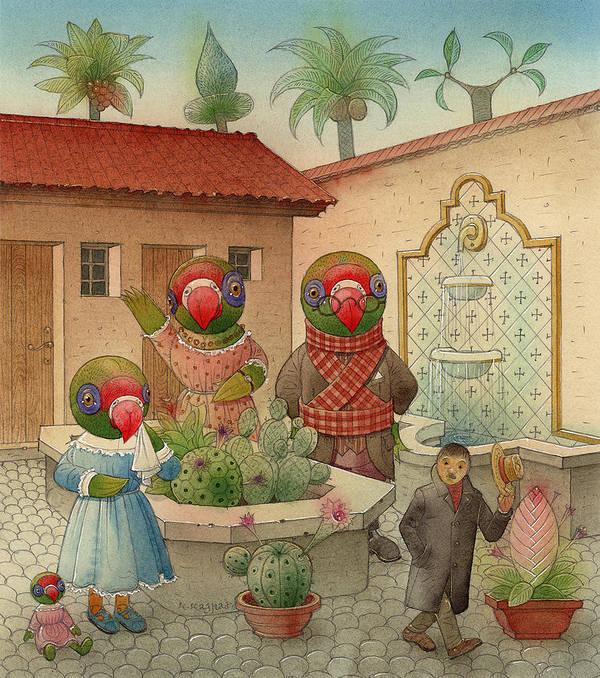 Parrots Birds Landscape House Jard Fountain Art Print featuring the painting Parrots 08 by Kestutis Kasparavicius