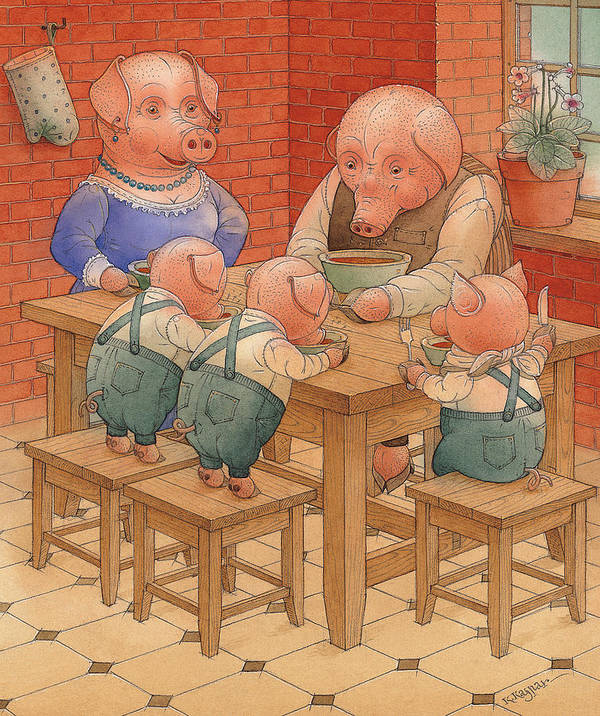 Animals Pig Kitchen Food Family Art Print featuring the painting Pigs by Kestutis Kasparavicius