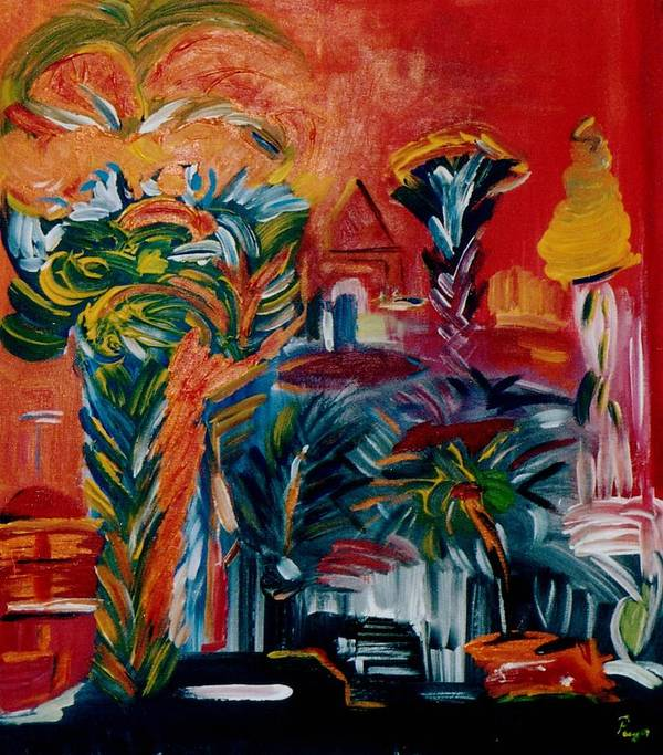 Palms Art Print featuring the painting Salvador da Bahia by Michael Puya