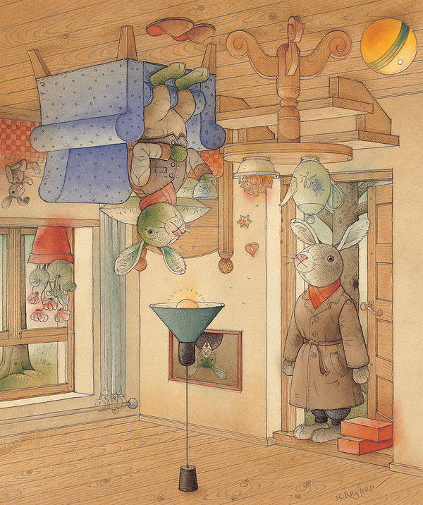 Rabbits Art Print featuring the painting Two Rabbits by Kestutis Kasparavicius