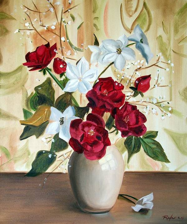 Art Art Print featuring the painting Vase with Red and White Flowers by RB McGrath