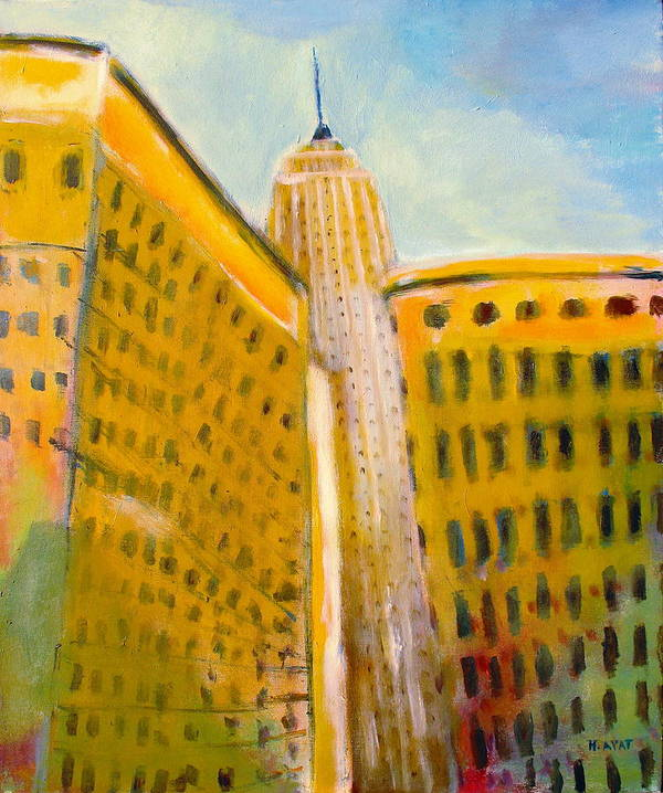 Abstract Cityscape Art Print featuring the painting View From The 33 St by Habib Ayat