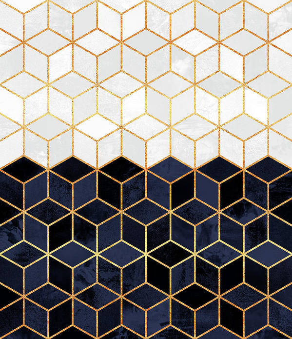 Graphic Art Print featuring the digital art White and navy cubes by Elisabeth Fredriksson