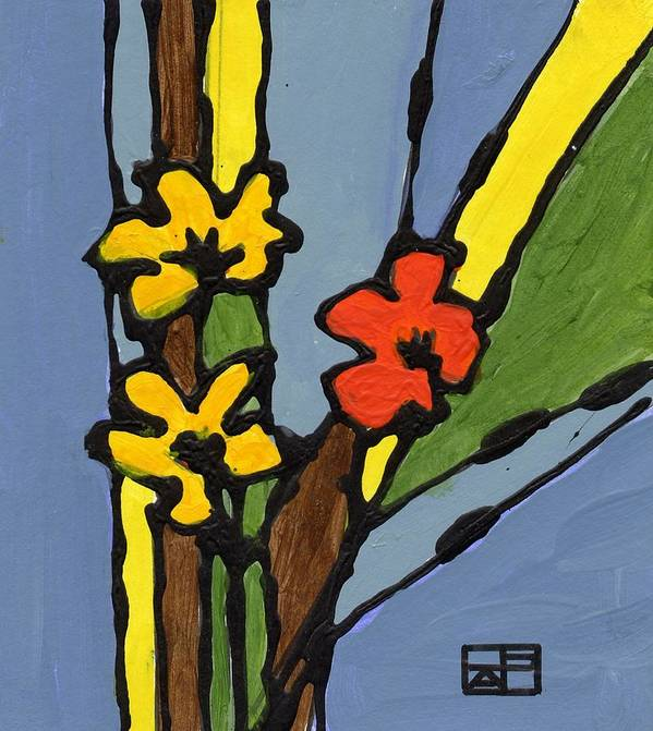 Flowers Art Print featuring the painting Yellow and Red Flower by Helen Pisarek