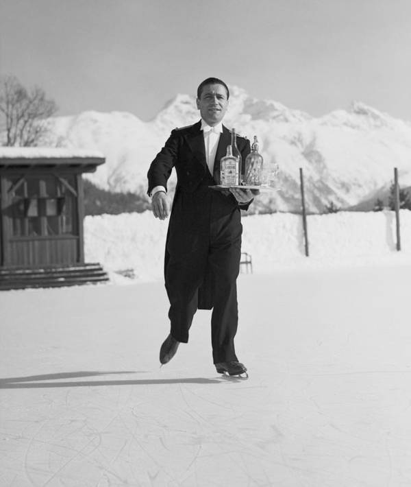 Snow Art Print featuring the photograph Skating Waiter by Horace Abrahams