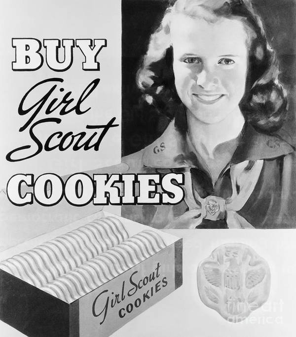 Child Art Print featuring the photograph Advertisement Poster For Girl Scout by Bettmann