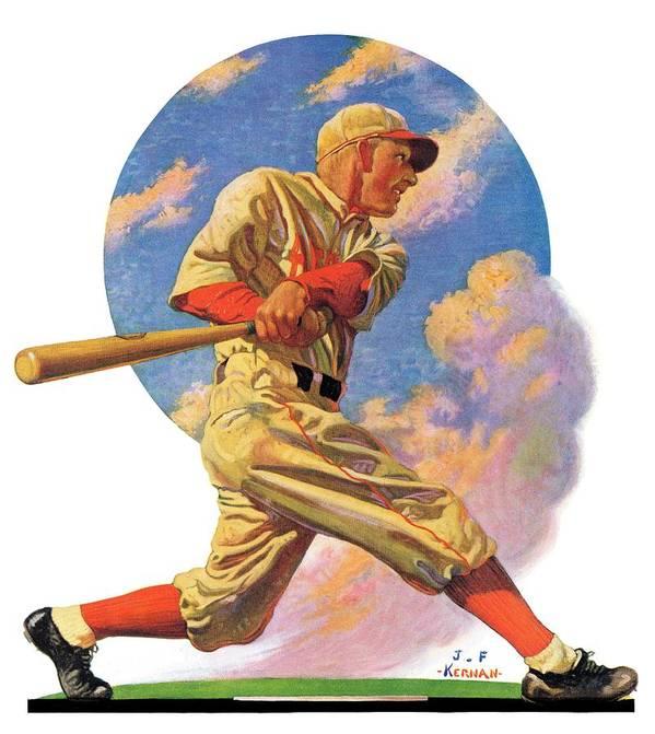 Baseball Art Print featuring the drawing Baseball Batter by J.f. Kernan