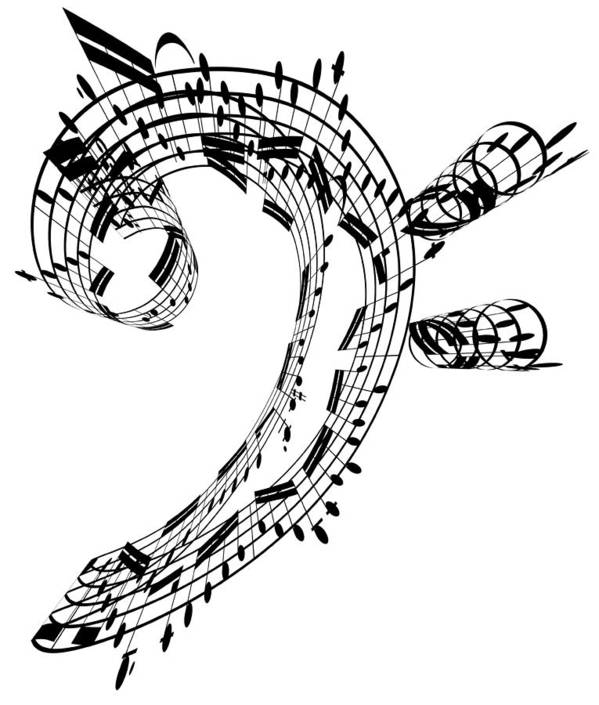 Sheet Music Art Print featuring the digital art Bass Clef Made Of Music Notes by Ian Mckinnell