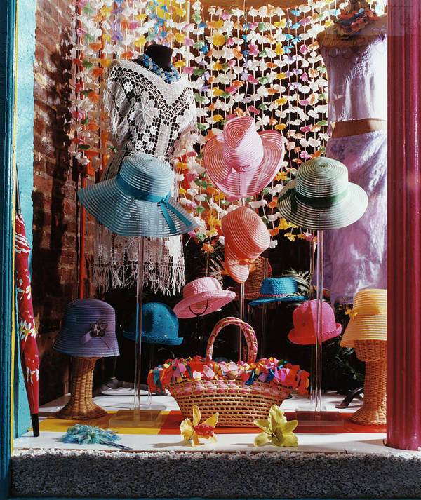 Straw Hat Art Print featuring the photograph Clothing Store Window Display by Silvia Otte