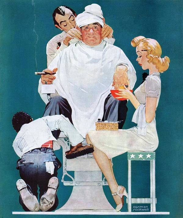 Barbers Art Print featuring the drawing full Treatment by Norman Rockwell