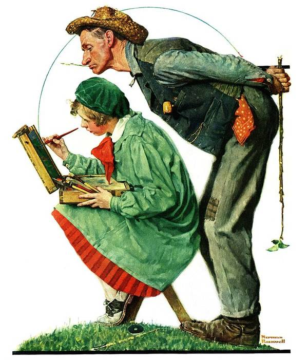 Artists Art Print featuring the drawing hayseed Critic by Norman Rockwell