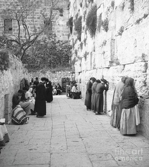 Palestinian Territories Art Print featuring the photograph Jewish People At The Western Wall by Bettmann