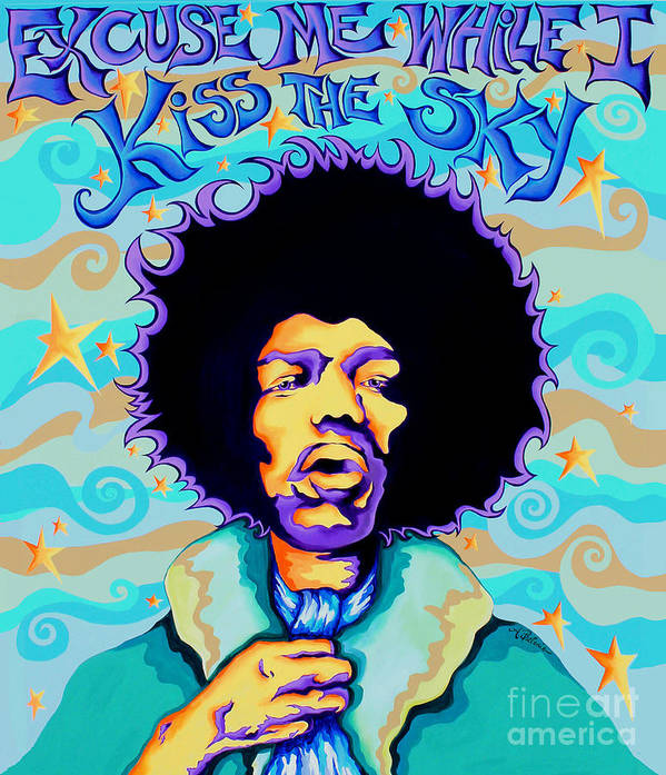 Jimi Hendrix Art Print featuring the painting Jimi Hendrix Kiss the Sky by Amy Belonio