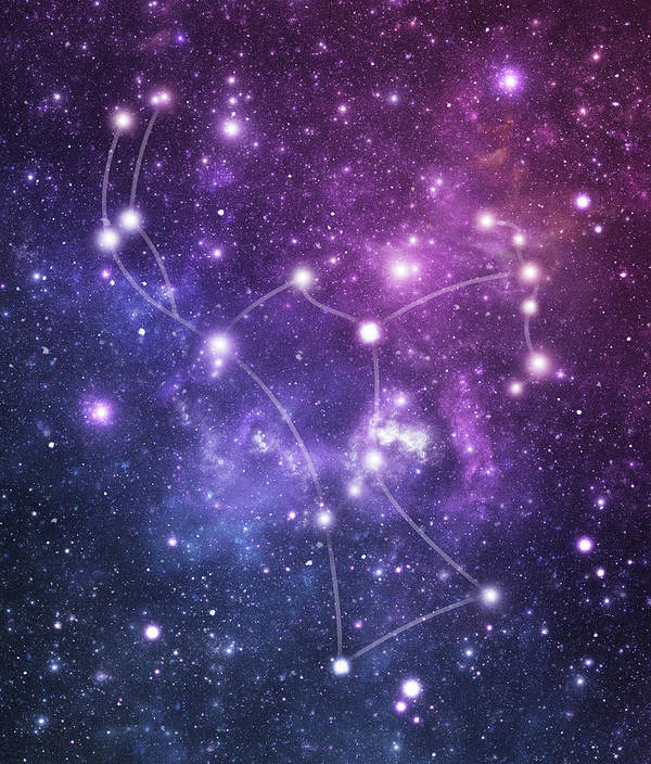 Black Color Art Print featuring the photograph The Stars Constellation Of Orion by Sololos