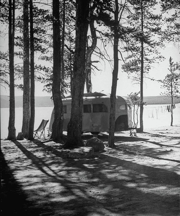 Timeincown Art Print featuring the photograph Trailer Park In Yellowstone National by Alfred Eisenstaedt