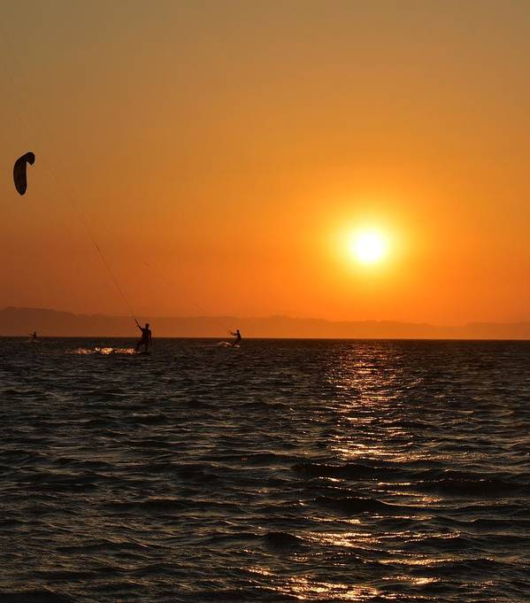 Kitesurfing Art Print featuring the photograph Red sea sunset by Luca Lautenschlaeger